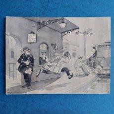 "Arte: PALAU"" PERDIENDO EL TREN"" ORIGINAL ILUSTRACION 1964. Lote 268916919"