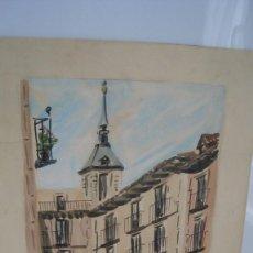 Arte: ANTIGUA ACUARELA CALLE TOLEDO MADRID DEL PINTOR JUAN MARTÍN HIDALGO 42 X 28 CMTS.. Lote 268930714