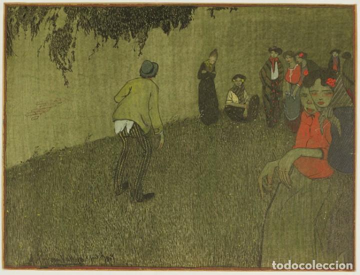ÁNGEL CEREZO VALLEJO (CARTAGENA,1895 - S.D.). ESCENA POPULAR. ACUARELA ORIGINAL. MADRID, 1909 (Arte - Acuarelas - Contemporáneas siglo XX)
