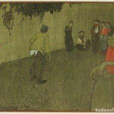 Arte: ÁNGEL CEREZO VALLEJO (CARTAGENA,1895 - S.D.). ESCENA POPULAR. ACUARELA ORIGINAL. MADRID, 1909. Lote 268942899