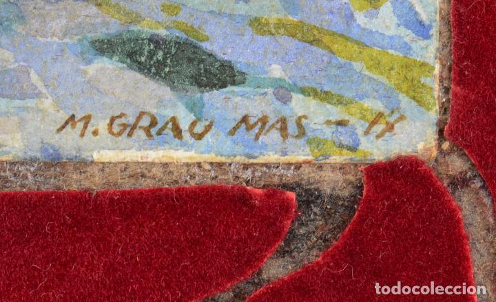 Arte: Acuarela, playa, costa con rocas, 1917, firmado M. Grau Mas. 29x22cm - Foto 3 - 269082428