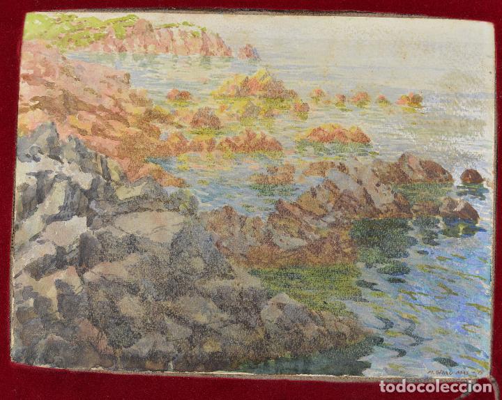 Arte: Acuarela, playa, costa con rocas, 1917, firmado M. Grau Mas. 29x22cm - Foto 2 - 269082428