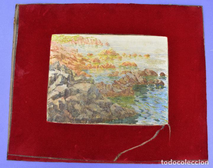ACUARELA, PLAYA, COSTA CON ROCAS, 1917, FIRMADO M. GRAU MAS. 29X22CM (Arte - Acuarelas - Contemporáneas siglo XX)