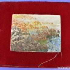 Arte: ACUARELA, PLAYA, COSTA CON ROCAS, 1917, FIRMADO M. GRAU MAS. 29X22CM. Lote 269082428