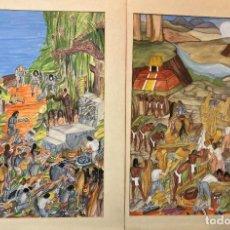 Arte: DOS ACUARELAS DE LA CONQUISTA DE AMÉRICA, POR J GONZÁLEZ VÁZQUEZ. Lote 269130228