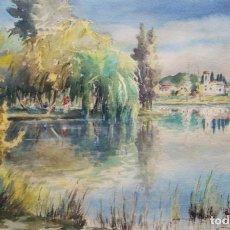 Arte: PERE MATA (BANYOLES, 1898-1970). ACUARELA/CARTULINA 50 X 31 CM. FIRMADA Y FECHADA 1958. CON MARCO.. Lote 269133858