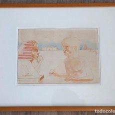 Arte: FRANCESC ARTIGAU - DIBUJO 18X26CM. MARCO: 35X43CM. FECHADO EN 1989.. Lote 269158998