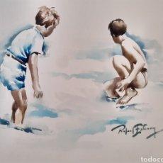 Arte: NIÑOS JUGANDO EN LA PLAYA. ACUARELA. 32X24CM. FIRMADO RAFAEL ESTANY.. Lote 269803803