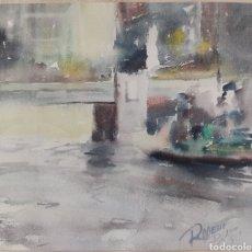 Arte: PUENTE DEL ARENAL BILBAO ROGELIO BLASCO 1897-1969 FIRMADA 1959 RIA NERVION VIZCAYA ENMARCADO VASCO. Lote 269813348