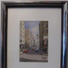 Arte: CALLE DE CASTELLON ACUARELA DE TRAVER GRIÑO. Lote 270564013