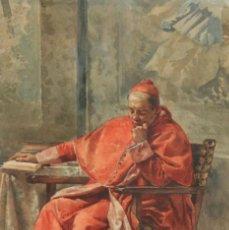 Art: ANTONIO GARCÍA MENCÍA (MADRID, 1852 - 1915) ACUARELA SOBRE PAPEL. CARDENAL. Lote 272343093