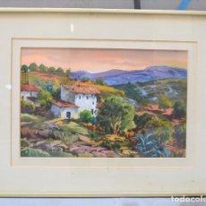 Arte: GUILLEM FRESQUET, PAISAJE CON CASA, 1979, ACUARELA, FIRMADA. 35X25CM. Lote 272354338