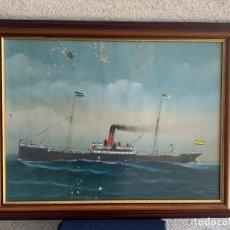 Arte: CUADRO ACUARELA GOUACHE MARINA BARCO VAPOR 1905 BENITA FIRMA ILEGIBLE L. BASTIDA 55X70CMS. Lote 272377278