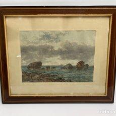 Art: ACUARELA, MARINA. LUIS RIGALT Y FARRIOLS ( 1814-1894).. Lote 272546208
