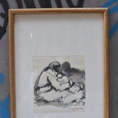 Arte: ROSER VILAR AYMERICH, MUJER CON NIÑO EN BRAZOS, 1978, ACUARELA, FIRMADA, CON MARCO. 20X18,5CM. Lote 272579313