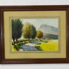 Arte: ACUARELA - PAISAJE VEINAT CIRERA (VALL DE BAS) - FIRMA F. DE P. NEBOT - AÑO 1946. Lote 272733088