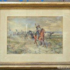 Arte: HENRY COLEMAN (1846-1911), PASTOR, CABALLO Y BUEYES, ACUARELA, FIRMADA. 54X36CM. Lote 273647808