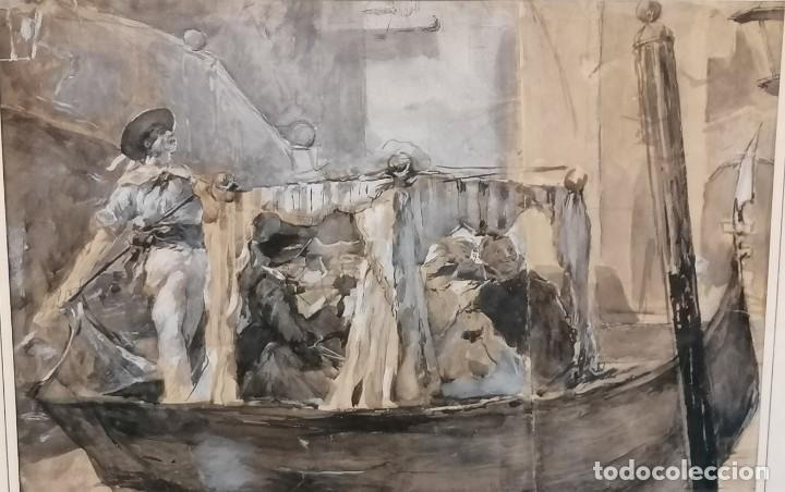 Arte: ACUARELA DE MANUEL DOMÍNGUEZ. PASEO EN GÓNDOLA - Foto 2 - 274816758