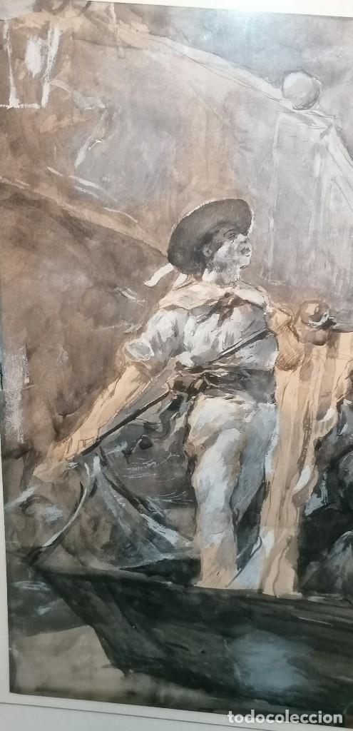 Arte: ACUARELA DE MANUEL DOMÍNGUEZ. PASEO EN GÓNDOLA - Foto 3 - 274816758
