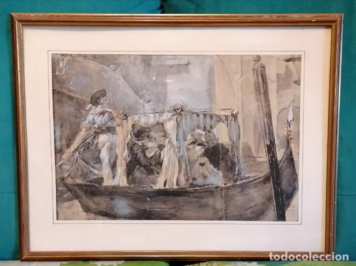 ACUARELA DE MANUEL DOMÍNGUEZ. PASEO EN GÓNDOLA (Arte - Acuarelas - Modernas siglo XIX)