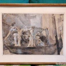Arte: ACUARELA DE MANUEL DOMÍNGUEZ. PASEO EN GÓNDOLA. Lote 274816758