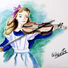 Arte: NIÑA CON VIOLIN LA ORILLA OBRA DE GILABERTE. Lote 275267433