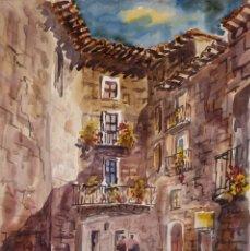 Arte: ACUARELA SOBRE PAPEL VISTA CALLE PUEBLO CON FIGURAS FIRMADA X.SANAGUSTIN 1978. Lote 275535373