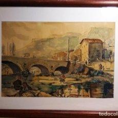 Arte: EL PUENTE SOBRE EL ARROYO OBRA DE CEFERINO OLIVE CABRÉ. Lote 275594333