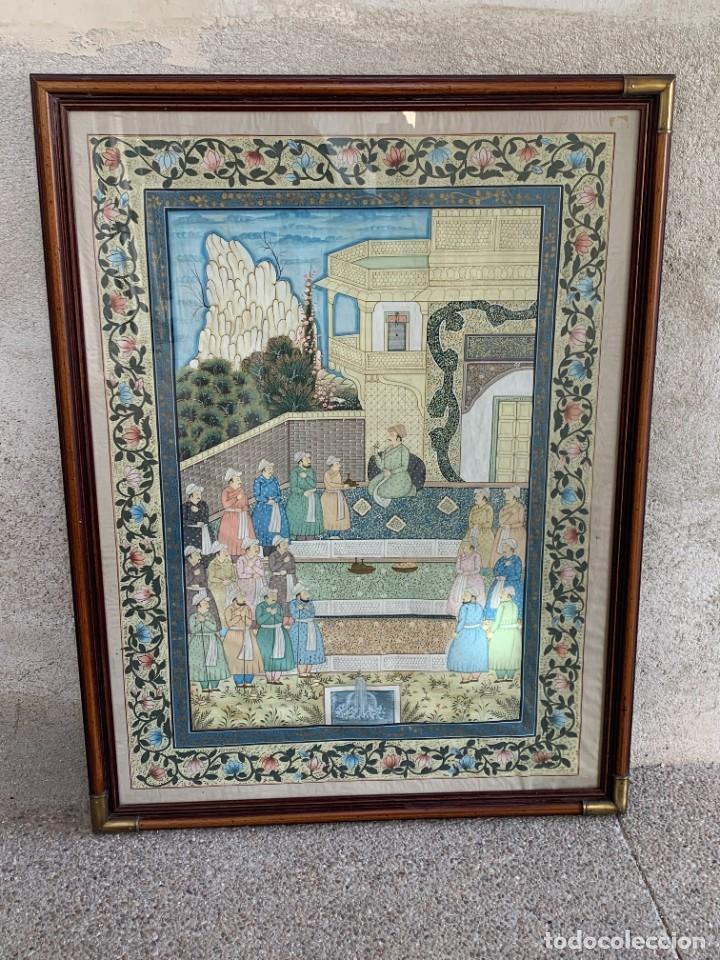 GRAN GOUACHE SOBRE TELA MOGOL MUGHAL PERSIA INDIA ETNICO ESCENAS PALACIO PRISIONEROS 117,5X88,5CMS (Arte - Acuarelas - Contemporáneas siglo XX)