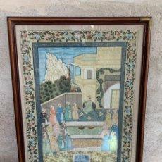 Arte: GRAN GOUACHE SOBRE TELA MOGOL MUGHAL PERSIA INDIA ETNICO ESCENAS PALACIO PRISIONEROS 117,5X88,5CMS. Lote 275944298