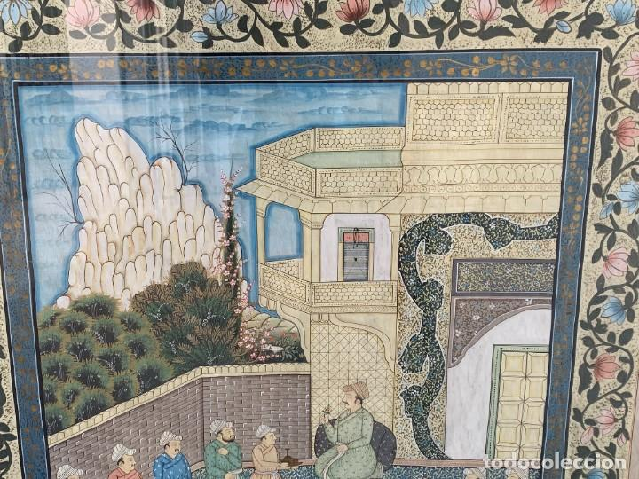 Arte: GRAN GOUACHE SOBRE TELA MOGOL MUGHAL PERSIA INDIA ETNICO ESCENAS PALACIO PRISIONEROS 117,5X88,5CMS - Foto 2 - 275944298