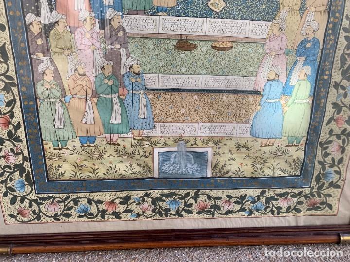 Arte: GRAN GOUACHE SOBRE TELA MOGOL MUGHAL PERSIA INDIA ETNICO ESCENAS PALACIO PRISIONEROS 117,5X88,5CMS - Foto 4 - 275944298