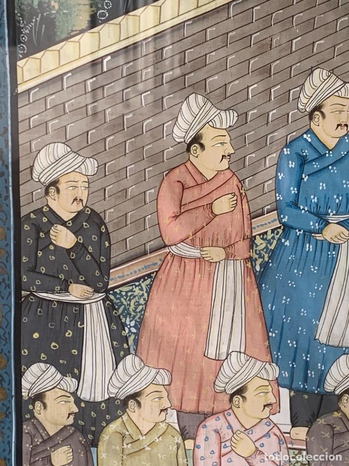 Arte: GRAN GOUACHE SOBRE TELA MOGOL MUGHAL PERSIA INDIA ETNICO ESCENAS PALACIO PRISIONEROS 117,5X88,5CMS - Foto 5 - 275944298