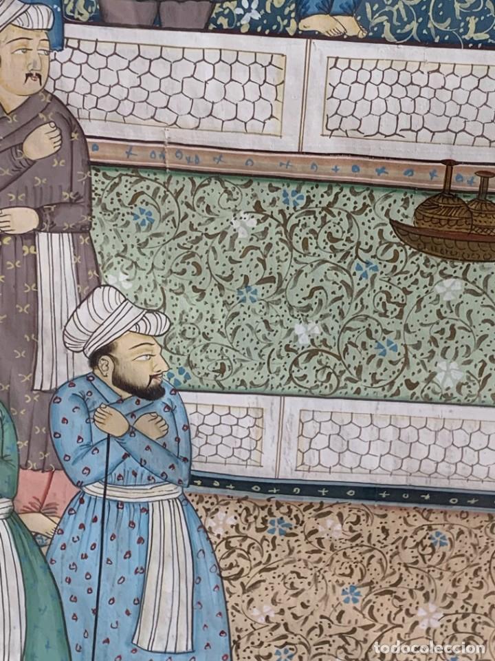 Arte: GRAN GOUACHE SOBRE TELA MOGOL MUGHAL PERSIA INDIA ETNICO ESCENAS PALACIO PRISIONEROS 117,5X88,5CMS - Foto 7 - 275944298