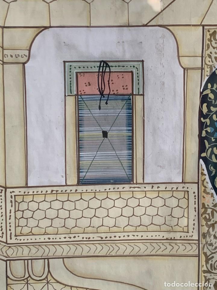 Arte: GRAN GOUACHE SOBRE TELA MOGOL MUGHAL PERSIA INDIA ETNICO ESCENAS PALACIO PRISIONEROS 117,5X88,5CMS - Foto 8 - 275944298