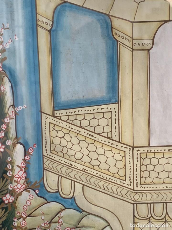 Arte: GRAN GOUACHE SOBRE TELA MOGOL MUGHAL PERSIA INDIA ETNICO ESCENAS PALACIO PRISIONEROS 117,5X88,5CMS - Foto 9 - 275944298
