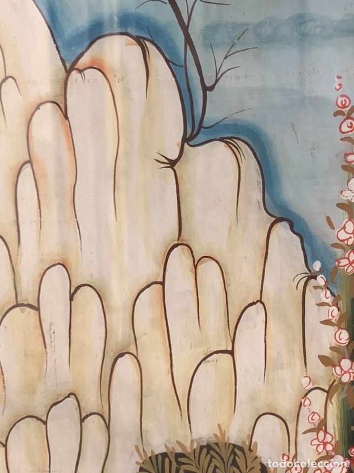 Arte: GRAN GOUACHE SOBRE TELA MOGOL MUGHAL PERSIA INDIA ETNICO ESCENAS PALACIO PRISIONEROS 117,5X88,5CMS - Foto 10 - 275944298