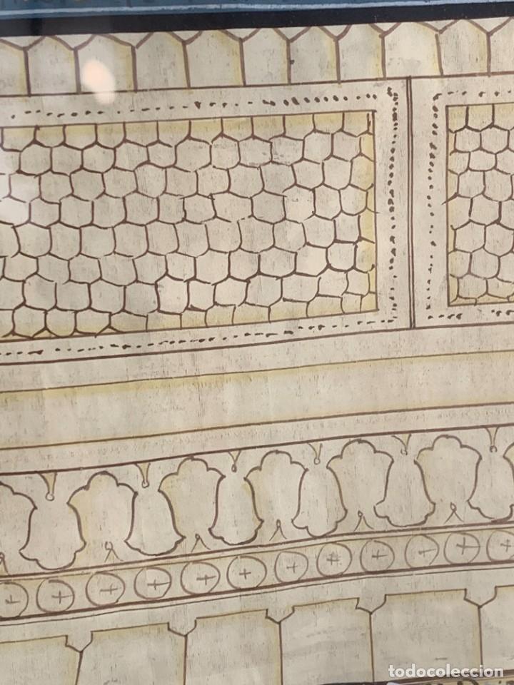 Arte: GRAN GOUACHE SOBRE TELA MOGOL MUGHAL PERSIA INDIA ETNICO ESCENAS PALACIO PRISIONEROS 117,5X88,5CMS - Foto 11 - 275944298
