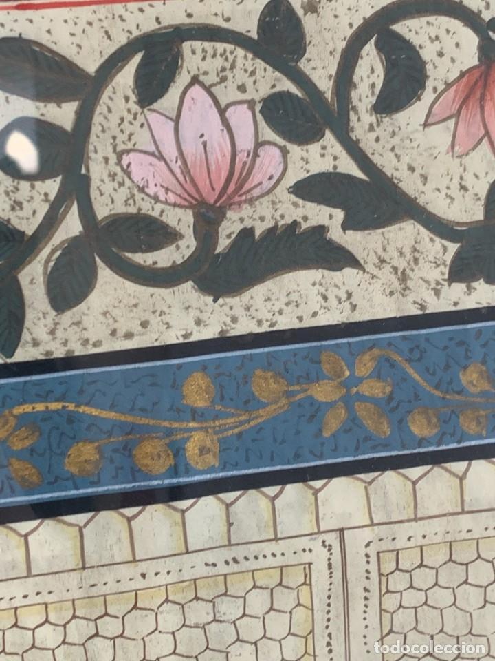 Arte: GRAN GOUACHE SOBRE TELA MOGOL MUGHAL PERSIA INDIA ETNICO ESCENAS PALACIO PRISIONEROS 117,5X88,5CMS - Foto 12 - 275944298