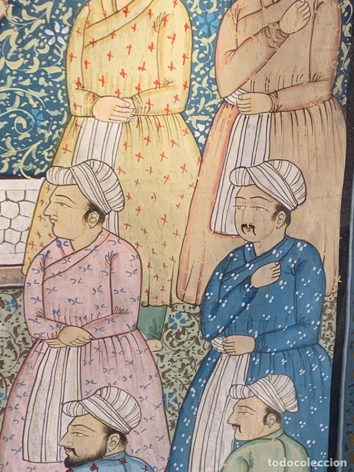 Arte: GRAN GOUACHE SOBRE TELA MOGOL MUGHAL PERSIA INDIA ETNICO ESCENAS PALACIO PRISIONEROS 117,5X88,5CMS - Foto 13 - 275944298