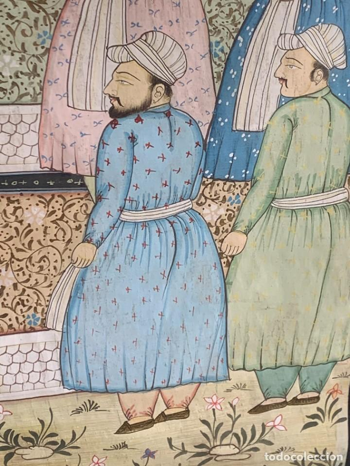 Arte: GRAN GOUACHE SOBRE TELA MOGOL MUGHAL PERSIA INDIA ETNICO ESCENAS PALACIO PRISIONEROS 117,5X88,5CMS - Foto 14 - 275944298