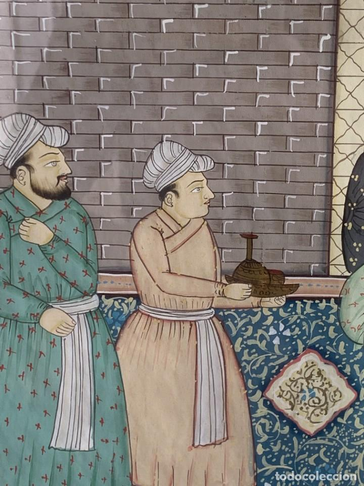 Arte: GRAN GOUACHE SOBRE TELA MOGOL MUGHAL PERSIA INDIA ETNICO ESCENAS PALACIO PRISIONEROS 117,5X88,5CMS - Foto 16 - 275944298
