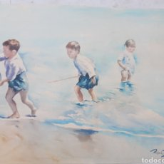 Art: NIÑOS A PIE DE OLAS. ACUARELA SOBRE PAPEL.46.5X32CM. FIRMADO RAFAEL ESTRANY.. Lote 276149513