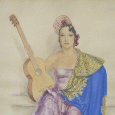 Arte: BAILAORA FLAMENCA CON MANTÓN Y GUITARRA, 1943, ACUARELA, FIRMA ILEGIBLE, CON MARCO. 48X31CM. Lote 276456558