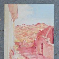 Arte: CALLE DE PUEBLO, LA VALL DE LA SANTA CREU, ACUARELA, EMPORDÀ, FIRMADA J. DONAT. 33,5X24CM. Lote 276480138