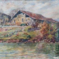 Arte: MANUEL RUIZ MORALES (GRANADA 1857-1922) CASERIOS ARETA LLODIO PAIS VASCO ACUARELA 53X39 CM. Lote 276694563