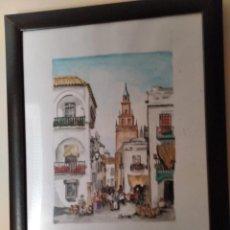 """Arte: """"PASEANDO POR EL BARRIO DE SANTA CRUZ"""". SEVILLA. ENRIQUE FERREIRA. 1949-?. Lote 277198318"""