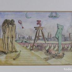 Arte: CARLOS VÁZQUEZ MATA (1949-2008) - DIBUJO ACUARELA SOBRE PAPEL FIRMADO POR EL ARTISTA. Lote 277428648