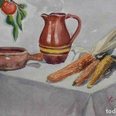 Arte: ACUARELA/CARTULINA 52 X 33 CM. BODEGÓN. FIRMADO Y FECHADO ILEGIBLE.. Lote 278288393