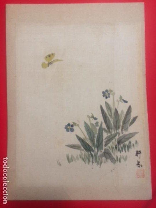 Arte: tsuyukusa to chocho, Commelina communis y mariposa, acuarela sobre seda, 26x18.8cm, firmado - Foto 3 - 278302838
